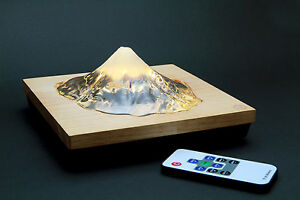 """Real Mt. Fuji Shaped Glass Craft """"LED Type"""" w/ Remote Control – Made in Japan"""