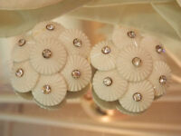 Vintage 1950's White with Rhinestone Sparkly Clip Earrings 128O8