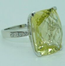 14KT White Gold and Heliodor Beryl Lemon Yellow Stone Ring 5.1 Grams Size 5.5