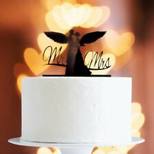 Black Angel Wing Couple Cake Topper x1 Baking Pick Decoration Wedding