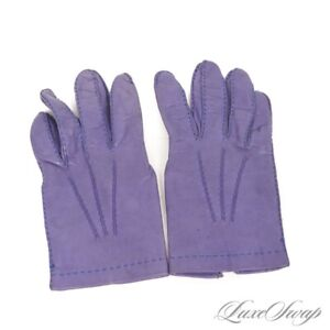 #1 MENSWEAR Cape Cod Made Italy Guyot Violet Indigo Silk Lined Leather Gloves 8
