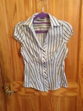 BNNT LOVELY LADIES WHITE SILVER METALIC STRIPPED BLOUSE ZARA BASICS SIZE M 10