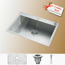 "30"" Top Mount Stainless Steel Kitchen Sink Single Bowl Extra Wide Rim KTS3021"