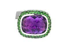 NEW David Yurman Sterling Silver Amethyst & Green Tsavorite  Waverly Ring 7