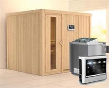 Karibu Sauna Gobin 68mm mit Bio Ofen 9kW extern Holztür