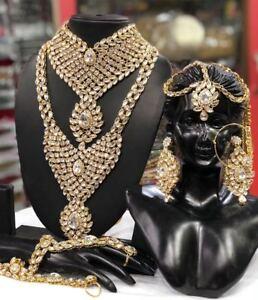 Indian Bollywood Wedding Diamond & Kundan Gold Tone Necklace Set Bridal Jewelry