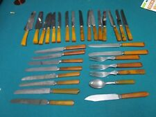 BAKELITE HANDLE, 37 PCS, KNIVES, SPOONS, SERVERS AND FORKS