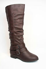 Women's Fashion Low Flat Heel Mid-Calf  Knee High Riding Boot Shoes Size 5 -11