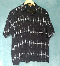 Razia Men's Shirt XXL Black & White Short Sleeve Casual Cotton Sound Wave Print