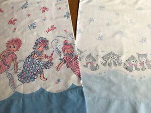 2 Vintage Cotton Print Pillowcases ~ Children Baby Designs Kittens Poodles Dolls