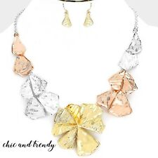 CLEARANCE TRI COLOR METAL CHUNKY FLOWER FASHION NECKLACE JEWELRY SET CHIC