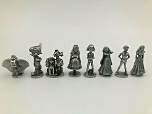 8 Disney Monopoly Pewter/Metal Game Pieces Figurines