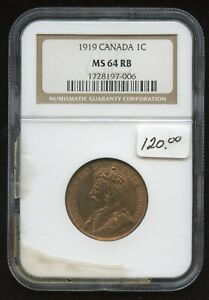 1919 Canada One Cent - NGC MS64 RB