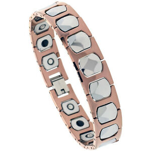 Tungsten Carbide 2-Tone Magnetic Bracelet w/ Diamond Faceted Cushion Links