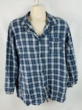 High Sierra Mens Pajama Shirt Flannel Plaid Longsleeve Blue Size Large