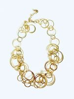 "Vintage Estate Find Statement Round Circle Chain Link Gold Tone Necklace 20"""