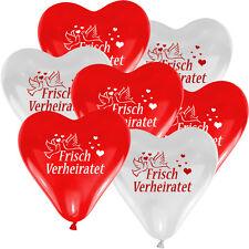 10 Herzballons HE geeignet - Ø 30cm - ROT / WEISS MIT DRUCK = Frisch Verheiratet