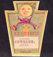 Utica NY 1800's Jewelry Store Keystone Watch Anthropomorphic Fantasy Trade Card