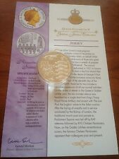 2003 ORO ARGENTO PROOF 1 OZ (ca. 28.35 g) £ 5 CINQUE STERLINE MONETE. REGINA JUBILEE Rimembranza DOMENICA