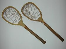 """R. Bliss Flat Top Antique Vintage Lawn Tennis Racquets - 25"""" long - c1882 - Pair"""