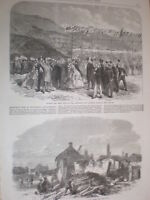 1st turf cut Llanberis Caernarvon railway & fire in Billinghay Lincs 1864 prints