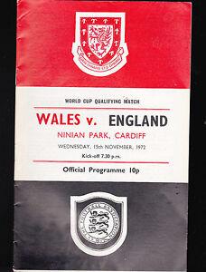 Wales v England Programme World Cup Qualifying Match November 15 1972 Soccer