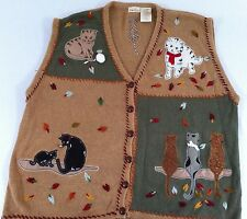 Autumn Kitty Cats 18 20 Leaves Knit Sweater Vest Kitten Leaf Brown Knit Applique