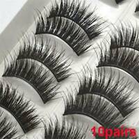 10 Pair🔥3D Mink🔥False Eyelashes🔥Wispy Cross Long Thick Soft Fake Eye Lashes