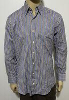 Men's Peter Millar Large Long Sleeve BF Plaid Shirt Muted Brown White Blue