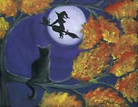 OrIgInAl FoLk ART PaInTiNg HallOwEEn WiTcH MooN BlAcK CaTs TrEE AuTuMn LeAvEs