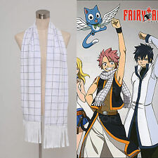 FAIRY TAIL Natsu Dragneel Bianco plaid Sciarpa /Cravatta Cosplay Anime