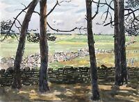 Karl Adser 1912-1995 Öland Blick durch Bäume aufs Feld Schweden Skandinavien