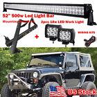 "Fit for 07-15 Jeep JK Steel Mounting Brackets 50"" 500W+ 2×18W Led Cree Light Bar"