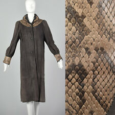 Small Designer Taupe Gray Brown Exotic Suede Snakeskin Trim Long Coat 80s Vtg