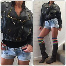 VINTAGE BLACK LEATHER STUDDED CROP JACKET 8 10 belt soft real biker punk 80s 90s