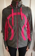 Lululemon Size 6 In Stride Hoodie Jacket Buttery Pink Gray Zip Coat Long EUC Run