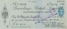 GB OLD CHECKS 1942 Barclays Bank Ltd., Stanford-Le-Hope, Essex; check VFU