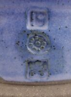 Unidentified Studio Pottery Stoneware Bowl Blue Pinched Three Chop Marks