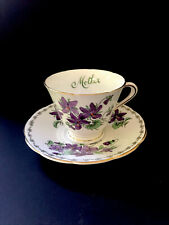 "Vintage Tuscan Fine English Bone China Teacup and Saucer ""Mother"" Purple Flowers"