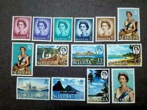 1964 St. Lucia Queen Elizabeth II Postage Stamps Complete Set - 12v MLH