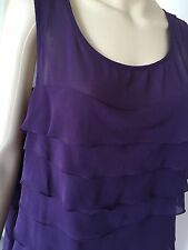 NICOLE top, blouse, purple plum, poly, sleeveless, size L, EUC