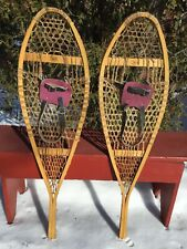 EXCELLENT Vintage 'Faber' SNOWSHOES 42x12 w/ LEATHER BINDINGS LABELS Snow Shoes