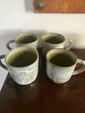 eugene deutch , mid century chicago artist set of 4 coffee mugs