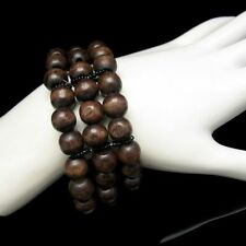 Wide Vintage Bracelet Mid Century Wood Beads 3 Strands Stretch Rich Brown Colors