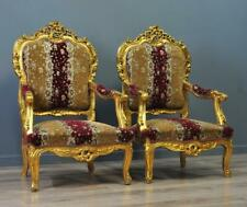 Attractive Pair Of Large Rococo Style Carved Gold Gilded Upholstered Arm Chairs