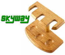 Skyway 3 Pipe Wood Tobacco Pipe Stand Rack Holder Light Oak Finish Brand New