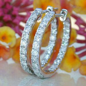 1.7 Ct Round Cut VVS1/D Diamond Huggie Hoop Earrings Solid 14K White Gold Finish