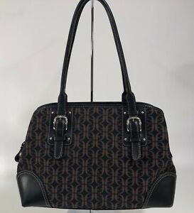 FOSSIL Brown & Black Signature Leather and Canvas 3/Compartment Shoulder Bag EUC