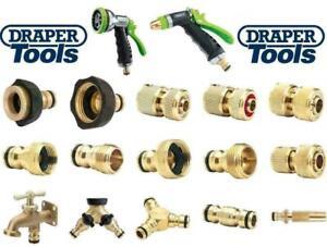 "Draper Garden Hose Pipe Brass Fitting Spray Gun Tap Connector 3/4"" 1/2"" Fittings"