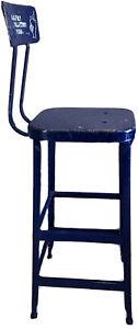 Vintage Lyon Industrial Metal Drafting Chair High Stool Machine Age USA